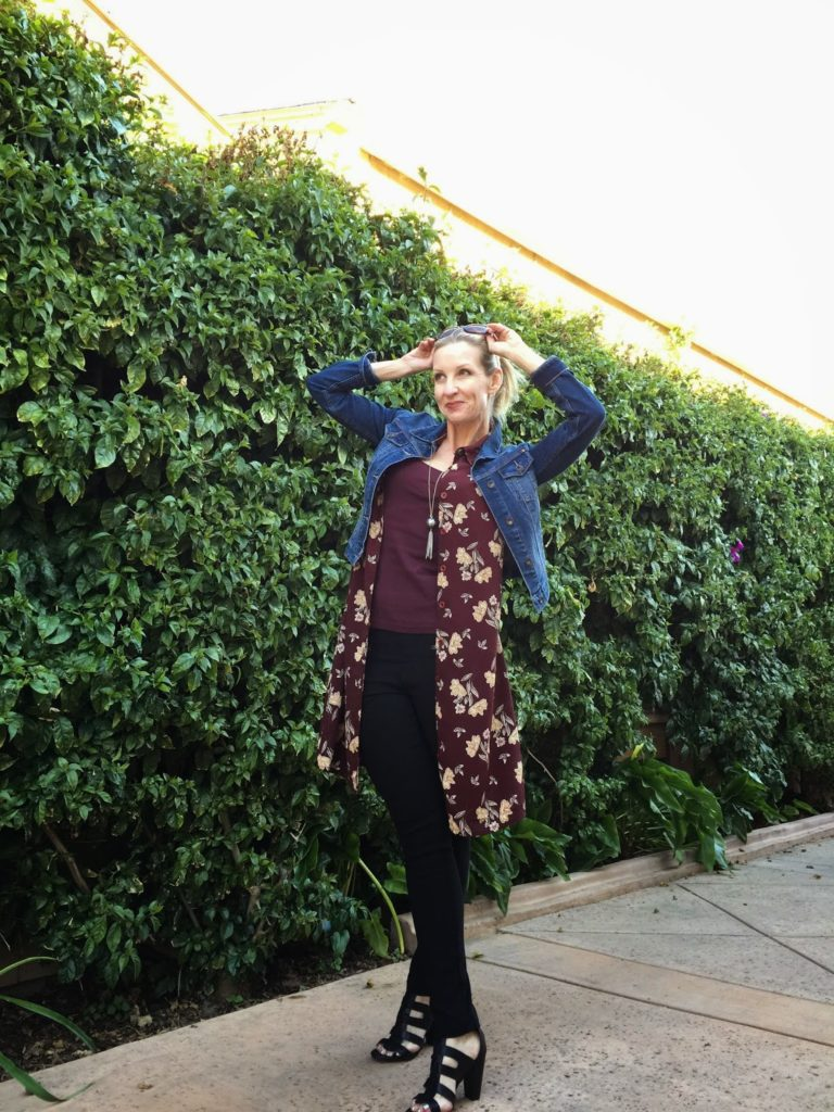fashion over 40, style bloggers in their 40s, the fab 40s, marsala and denim, dress as vest