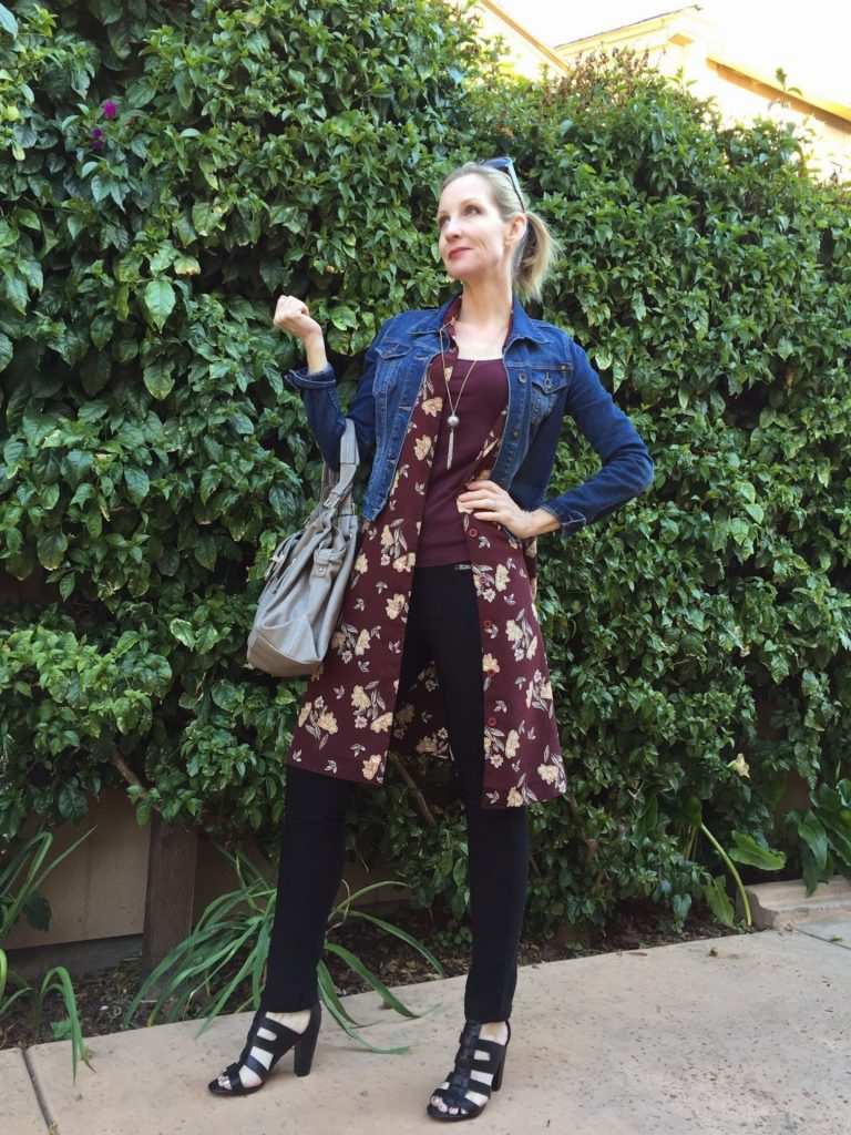 marsala and denim, floral dress, layering, fashion bloggers over 40, style at 40 something