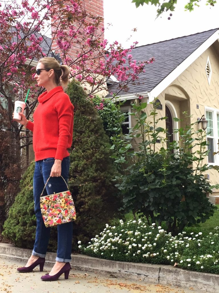 spring sweater, floral handbag, vintage purse, spring style, causal outfit, fashion over 40