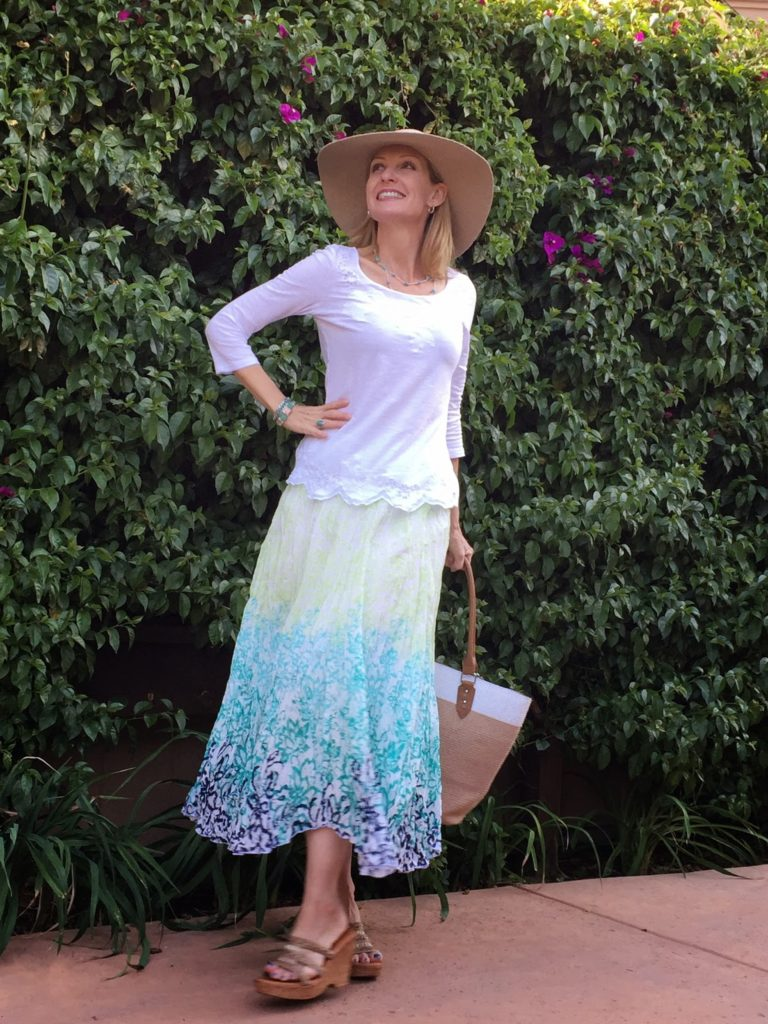 Ikat print maxi, embroidered scallop hem top, spring looks, spring style over 40