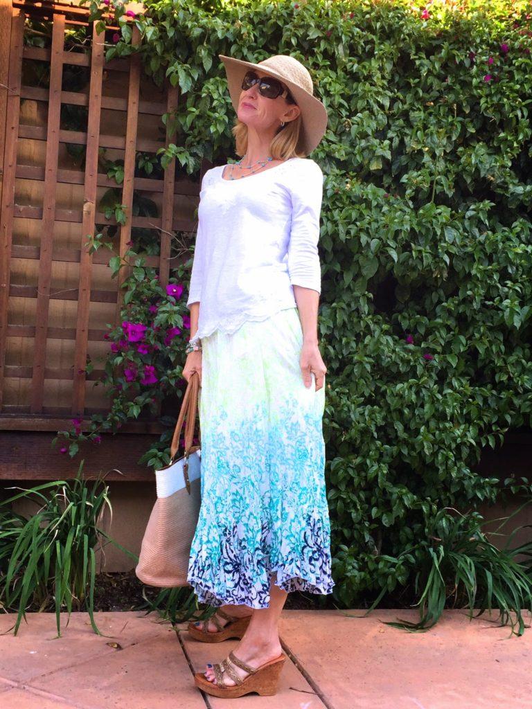 sunhat, pretty skirt, fashion over 40, midlife style, fashion for teachers
