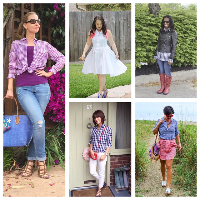 wearing gingham over 40, 5 bloggers over forty