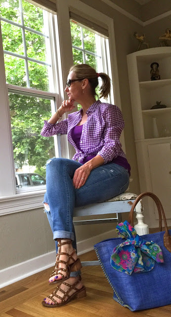 cute gingham outfit, style over forty, casual spring outfit, spring 2015 trends