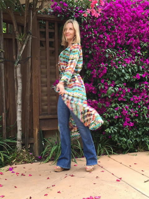 colorful dress, wearing boho over 40, showinbuy, tie dye, bohemian
