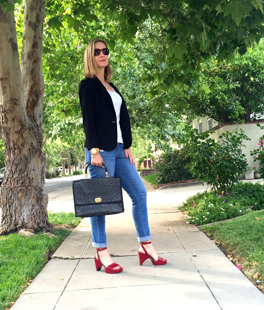 Prada vintage shoes, black blazer, vintage bag, red sunglasses