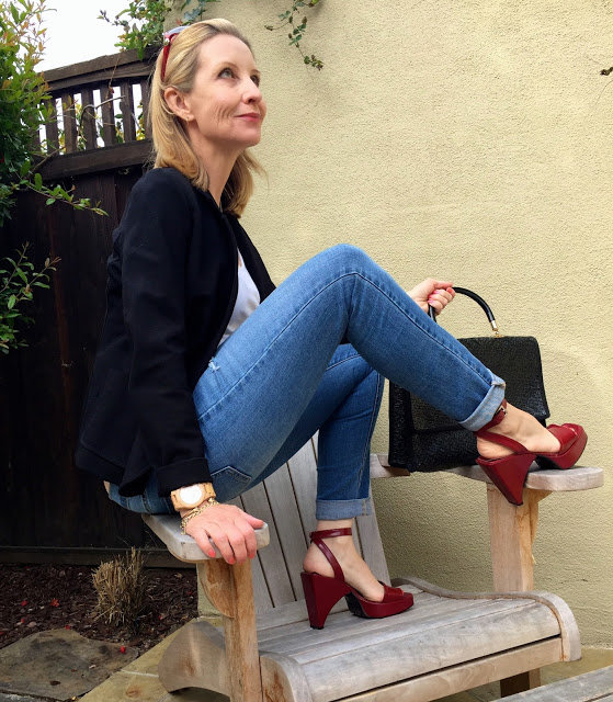 accenting an outfit with red, vintage shoes, Prada, marc by marc jacobs