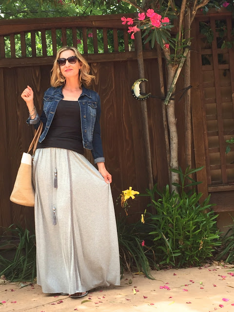 maxi skirt, tank, denim jacket, sandals, summer bag