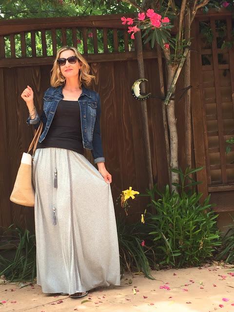 maxi skirt, tank, denim jacket, sandals, summer bag