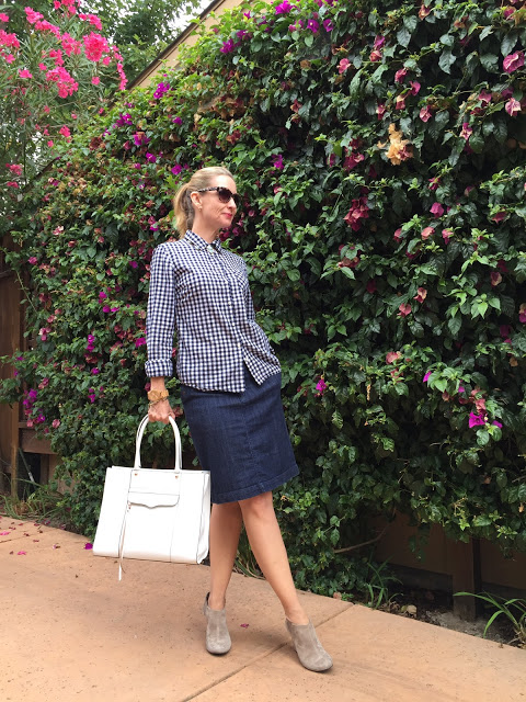gingham and denim over forty, over forty outfit idteas, REbecca Minkoff MAB
