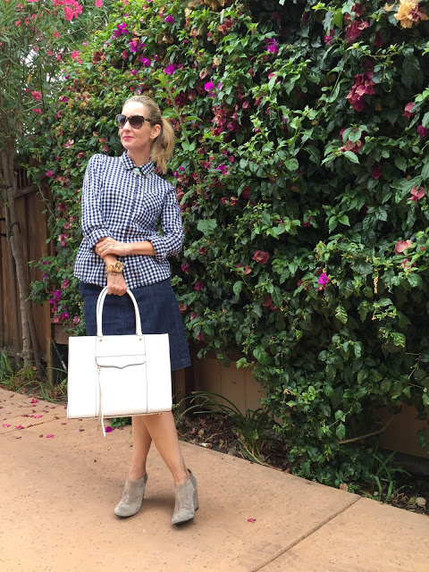 gingham shirt, white bag, suede booties, summer to fall boots