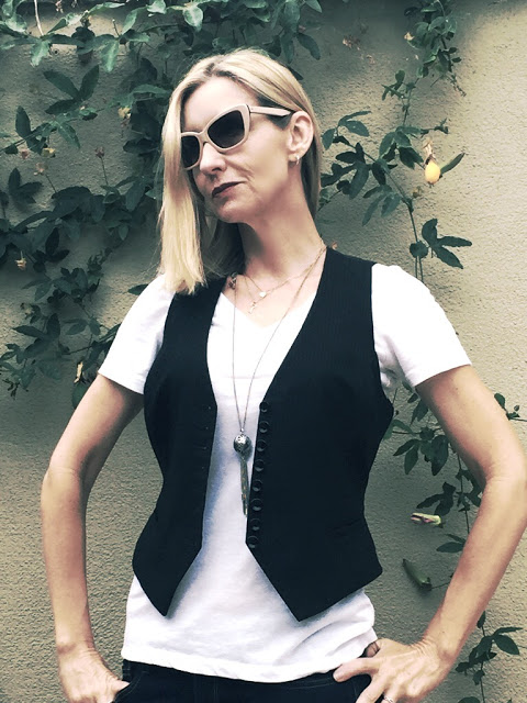 how to rock a vest over 40, layered necklaces over forty