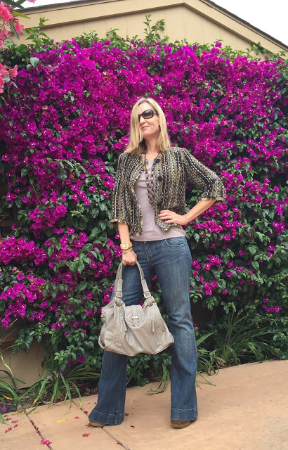 women over 40, fashion over forty, cropped tweed Cabi jacket