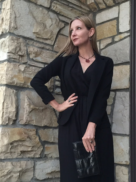 black blazer, vintage jewelry