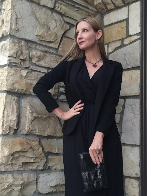 black blazer, vintage jewelry