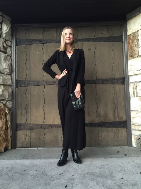 goth over forty, vintage jewelry, boots, maxi dress