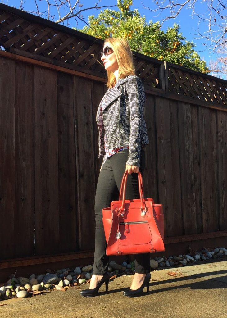 moto, patterned moto, Express, style over forty, style bloggers over forty