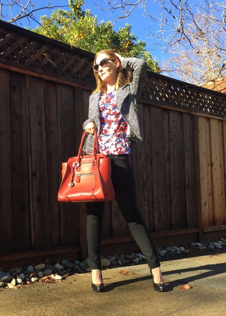 mixing patterns, red bag, Prada sunglasses, Ditto Endless Eyewear