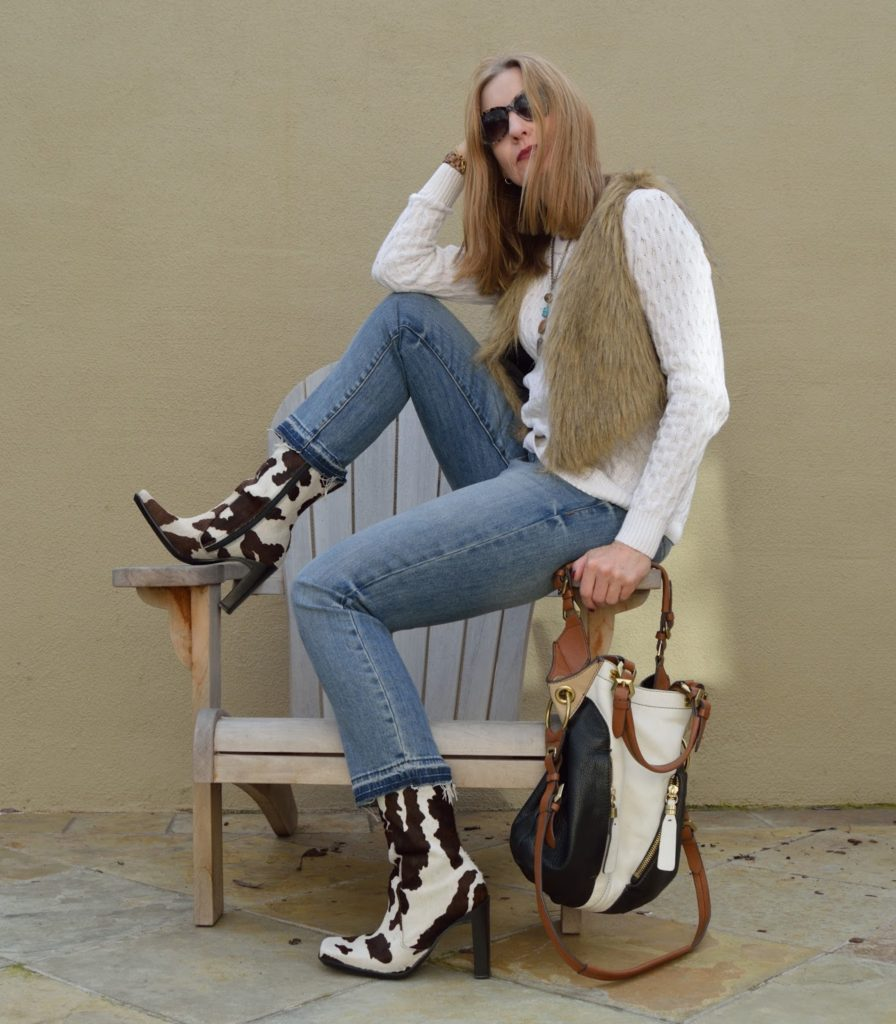 OOTD, animal print boots over forty, style over forty
