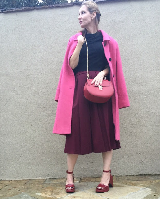 style over forty, midi skirt, vintage coat, cross body bag, vintage Prada sandals