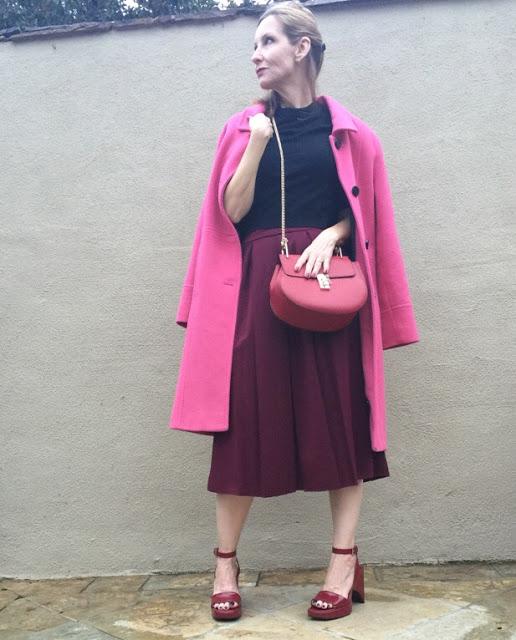 style over forty, midi skirt, vintage coat, cross body bag, vintage Prada sandals