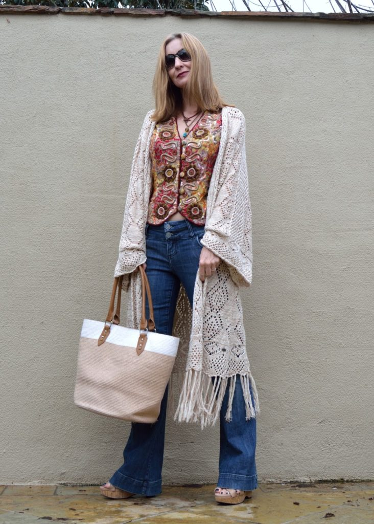 layering necklaces, embroidery trend, flares over forty