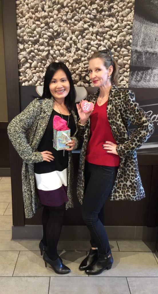 Starubucks and style, leopard coat, sweater dress