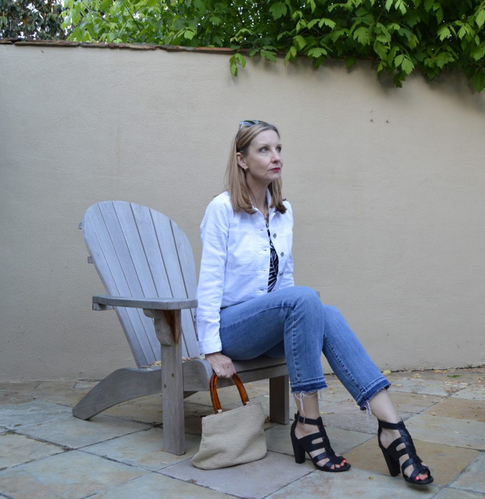 styling a white denim jacket over forty