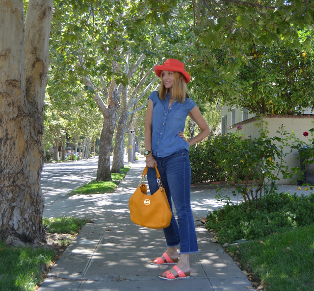 style over 40, denim on denim with pops of color