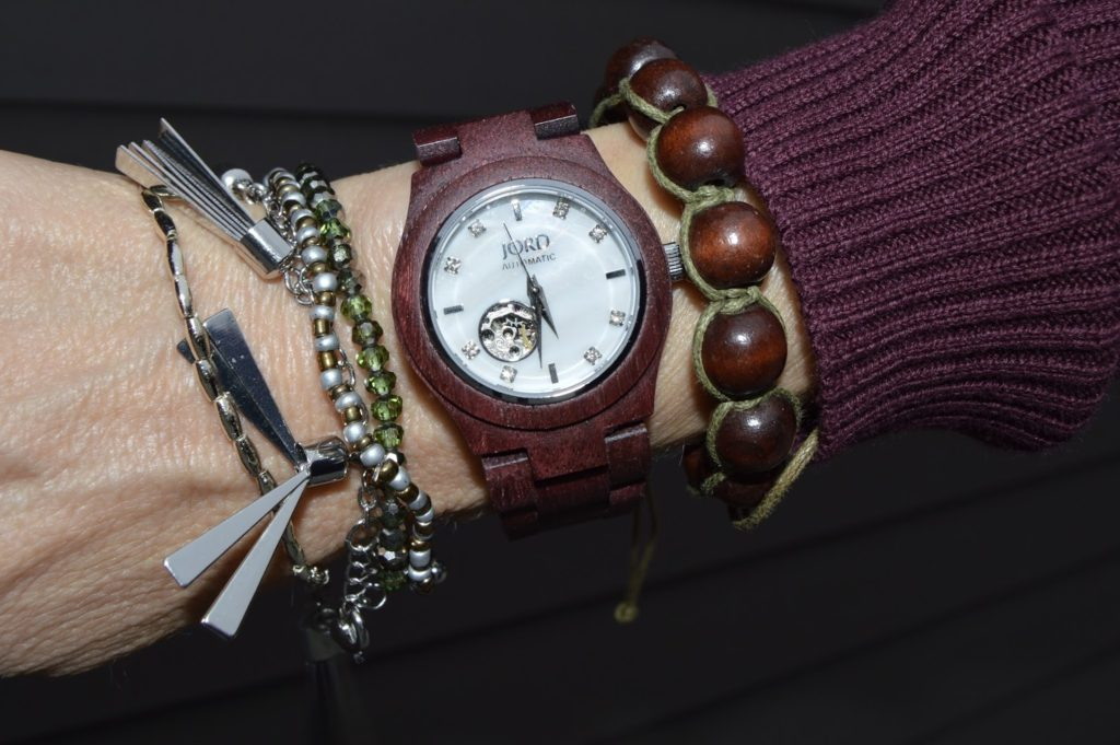 arm candy, Jord wood watches, Cora watch, purpleheart and mother of pearl