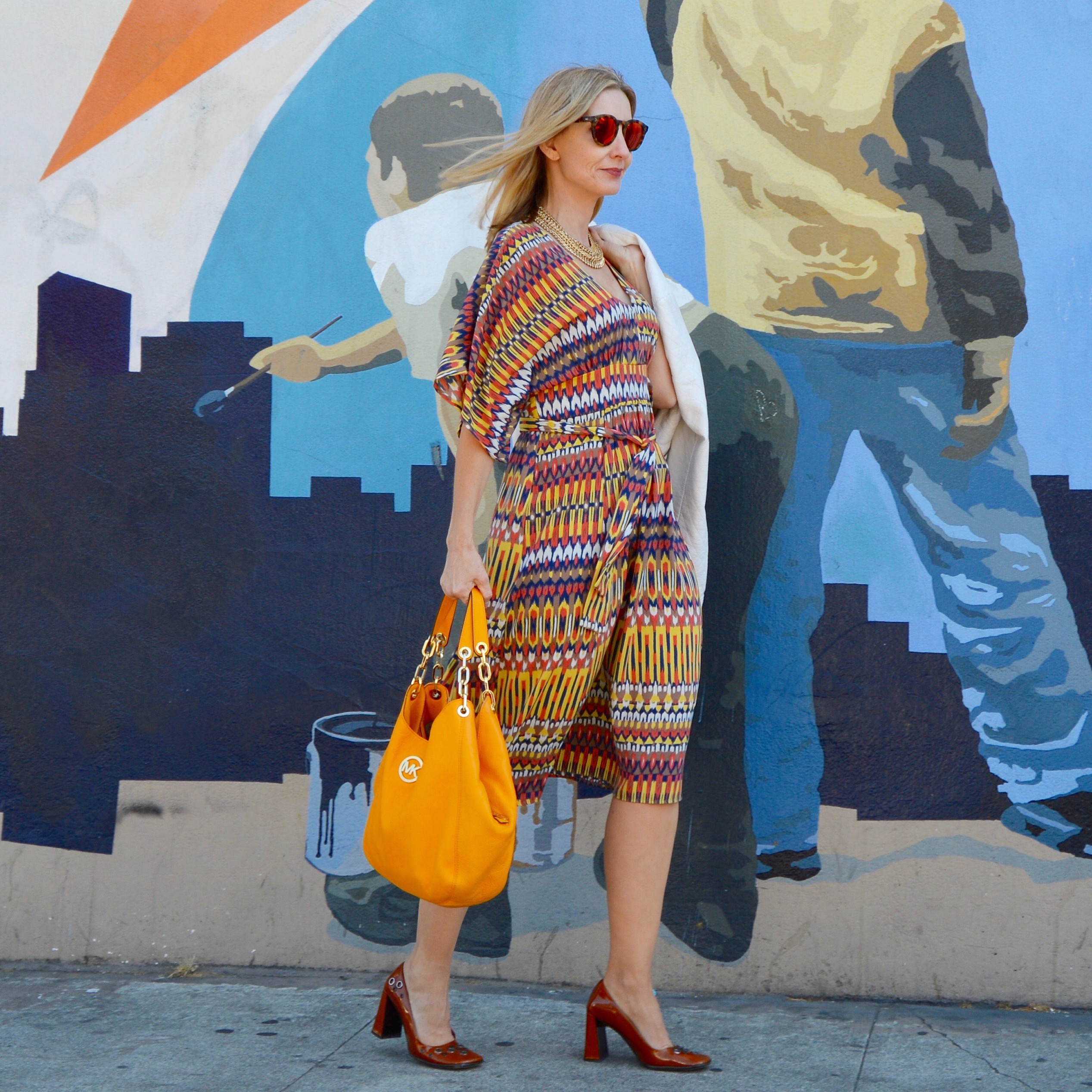 IKAT prints, yellow bags, style over 40