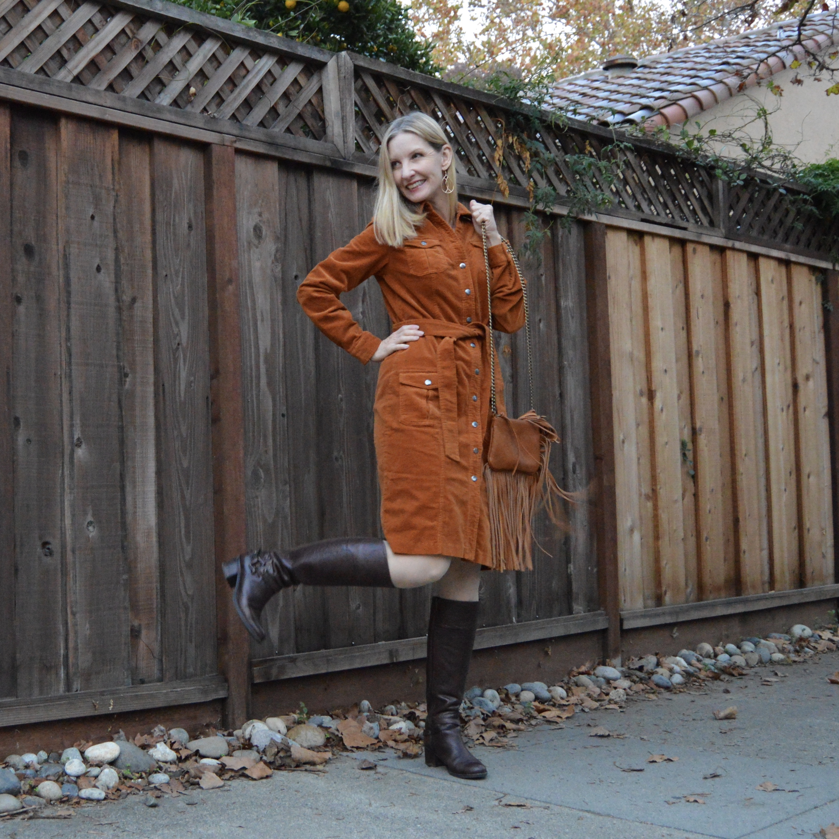versatile corduroy dress, style over 40, midlife fashion