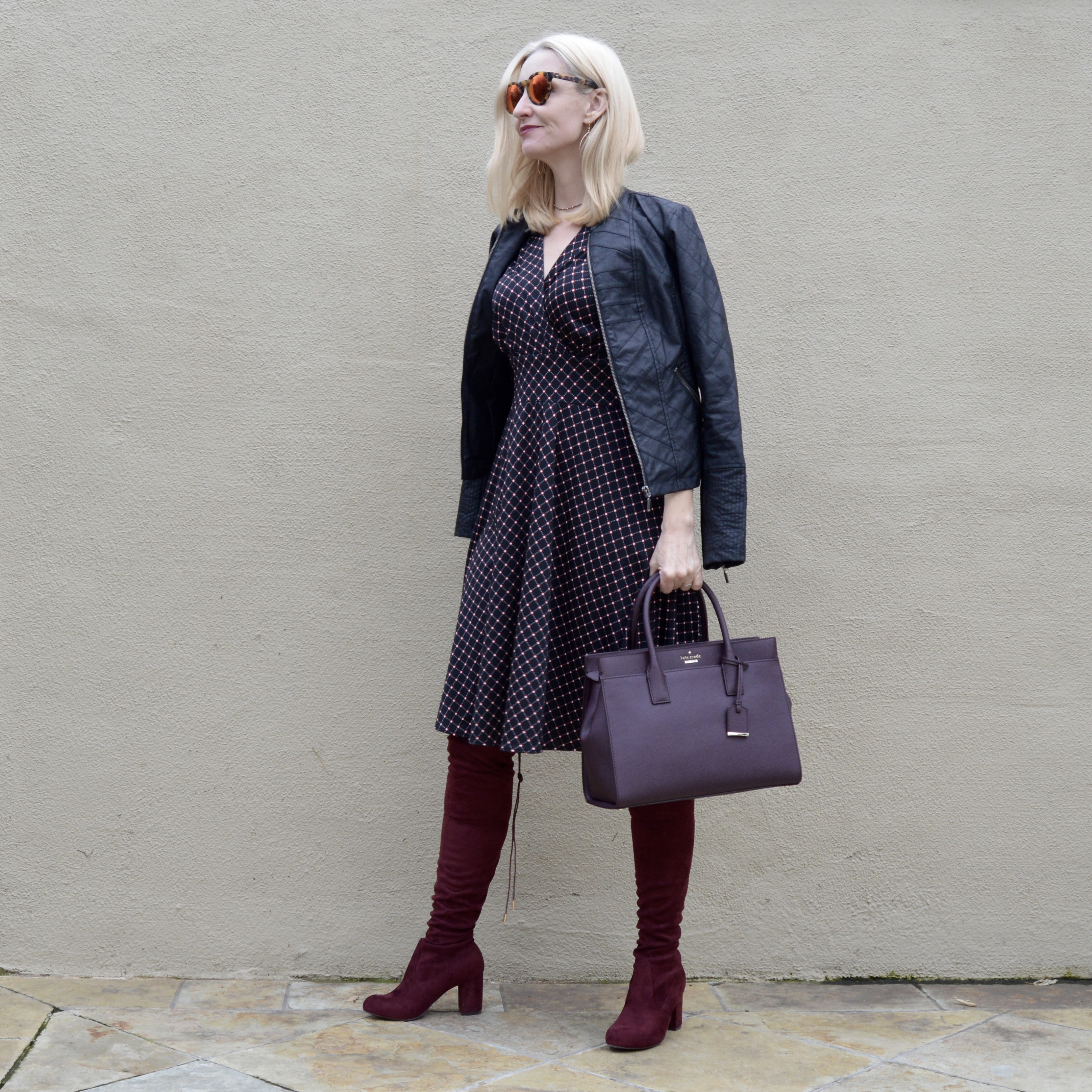 styling over the knee boots, classic dresses