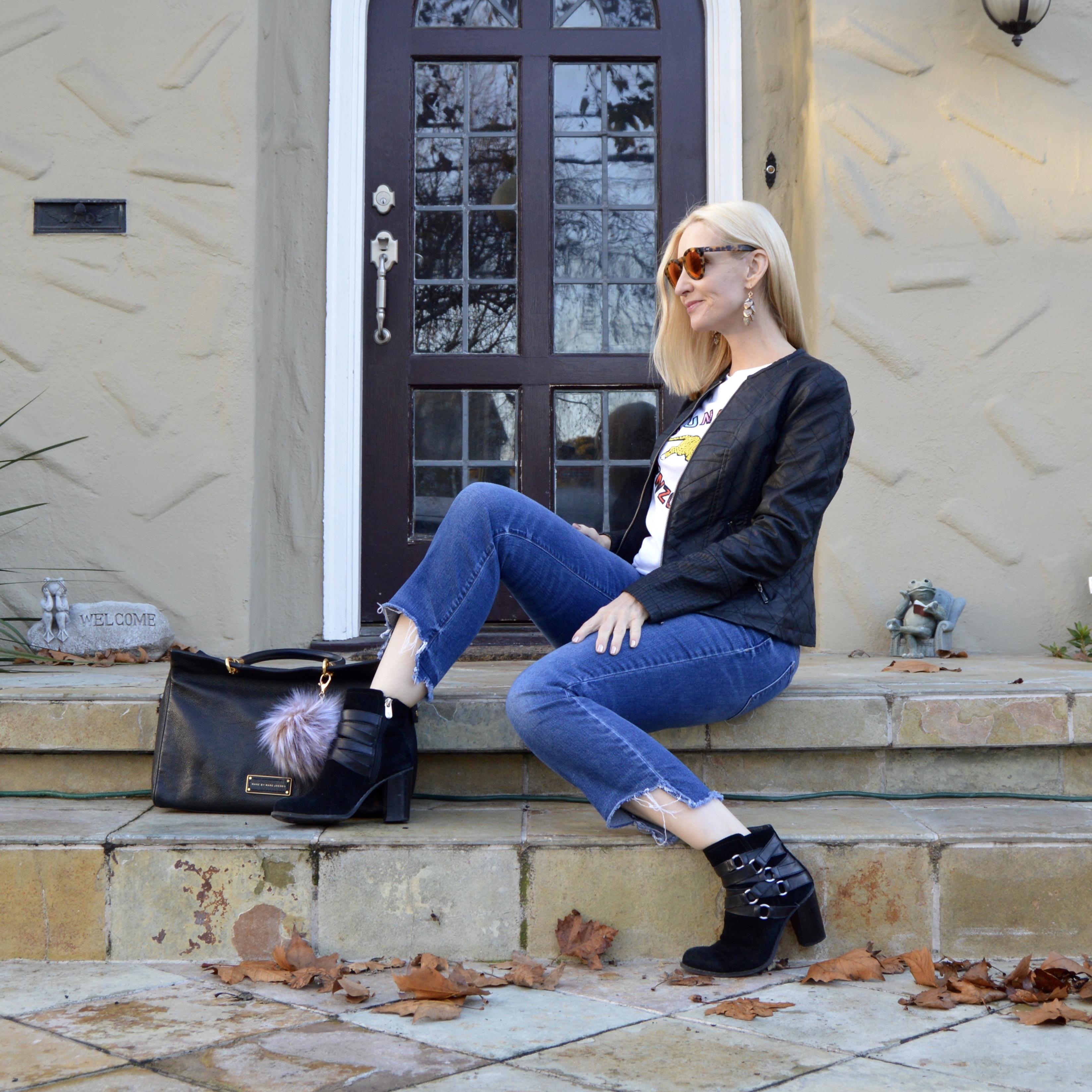 Diana Ferguson earrings, step hem jeans over 40, graphic tee