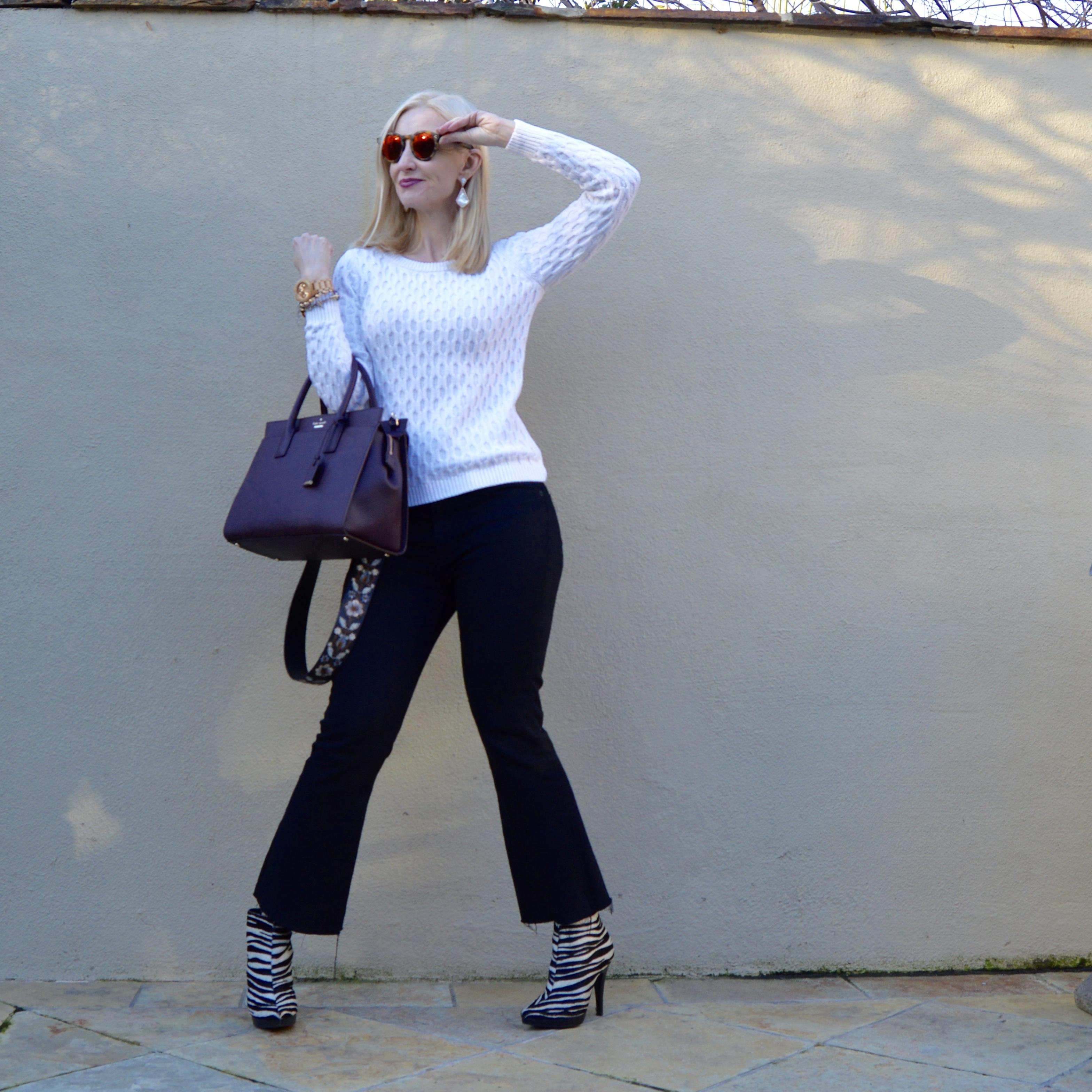wearing trends over 40, guitar strap, zebra booties