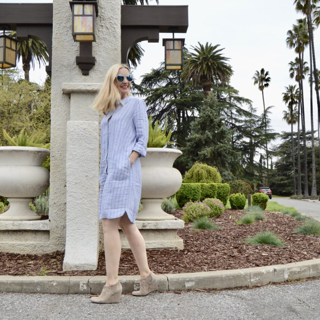 J. Jill shirtdress review, linen shirtdress