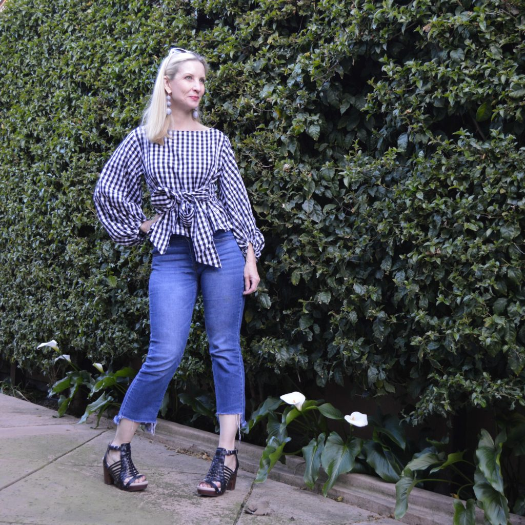 Shein gingham top with lantern sleeves and bow
