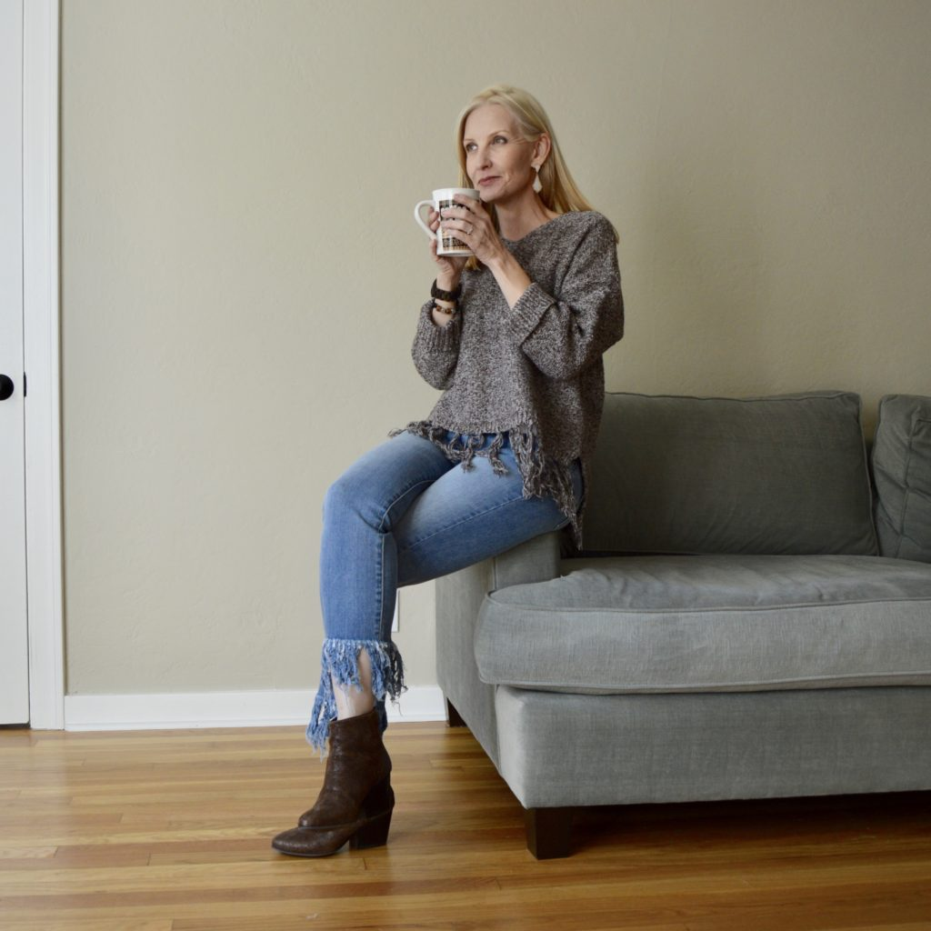 sweater and jeans, style over 50