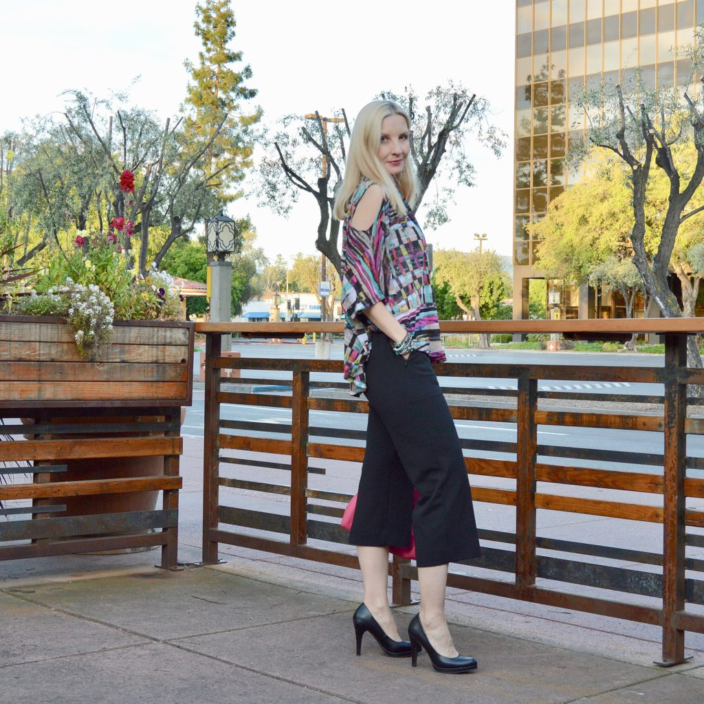 cropped wide legs pants and cold shoulder top, style over 40