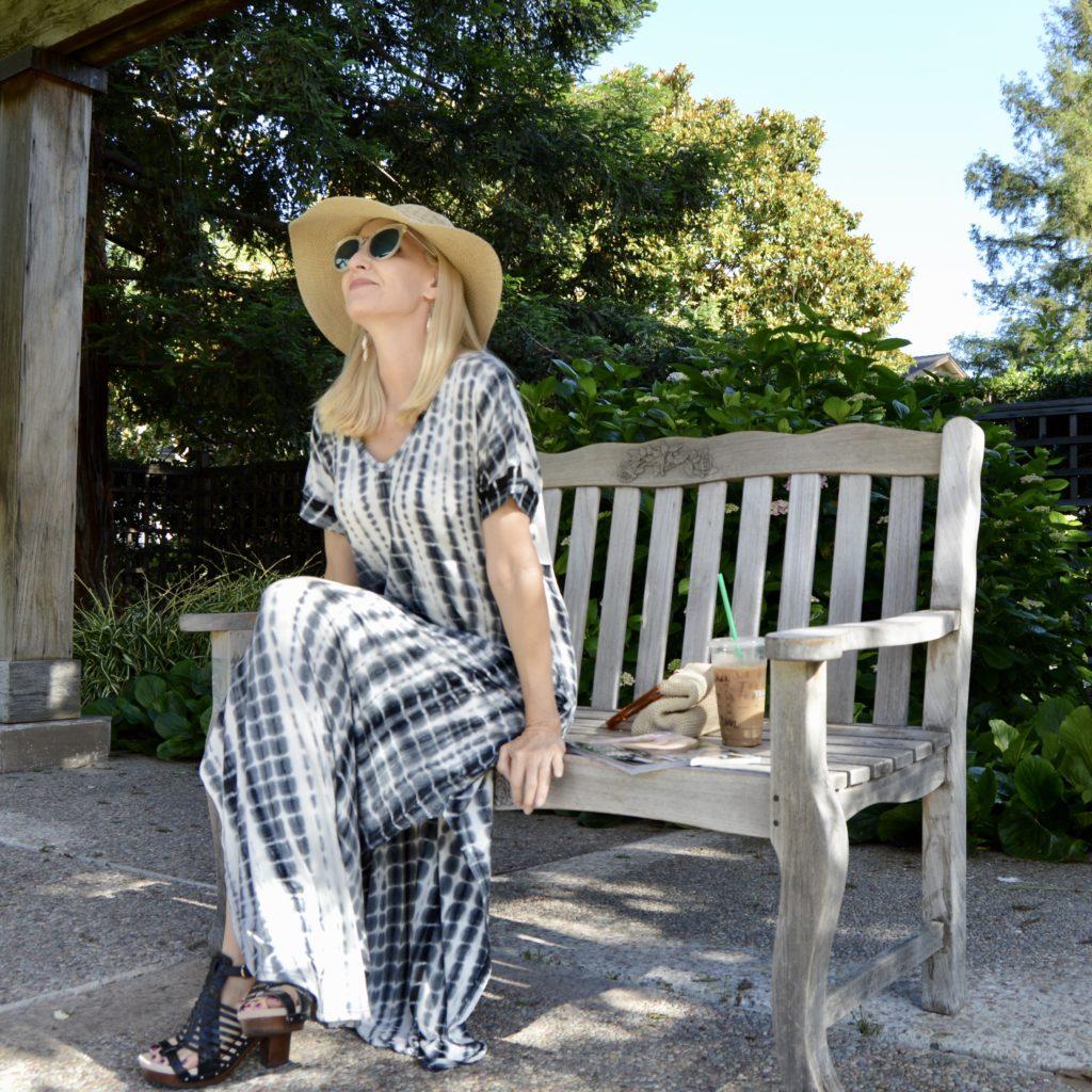 tie-dye maxi dress, style over 40