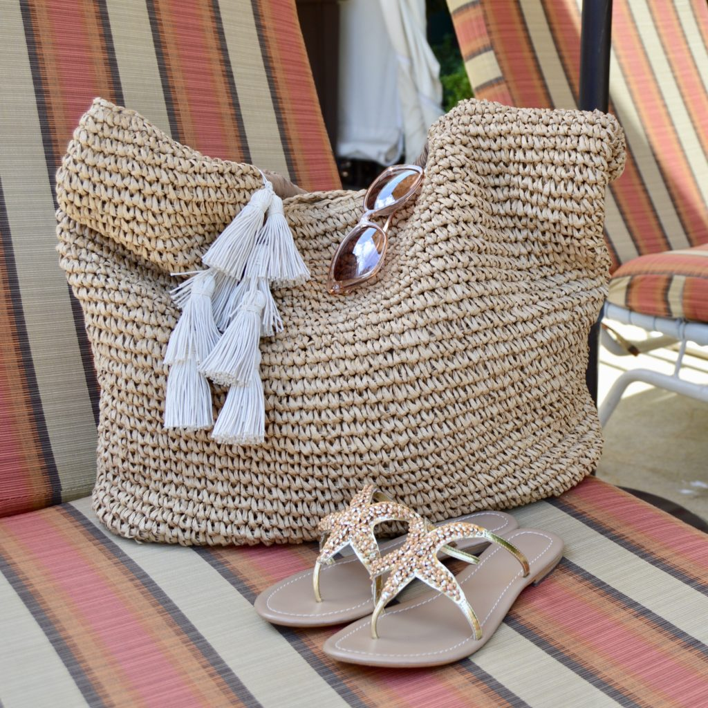 beach tote, sandals, sunglasses