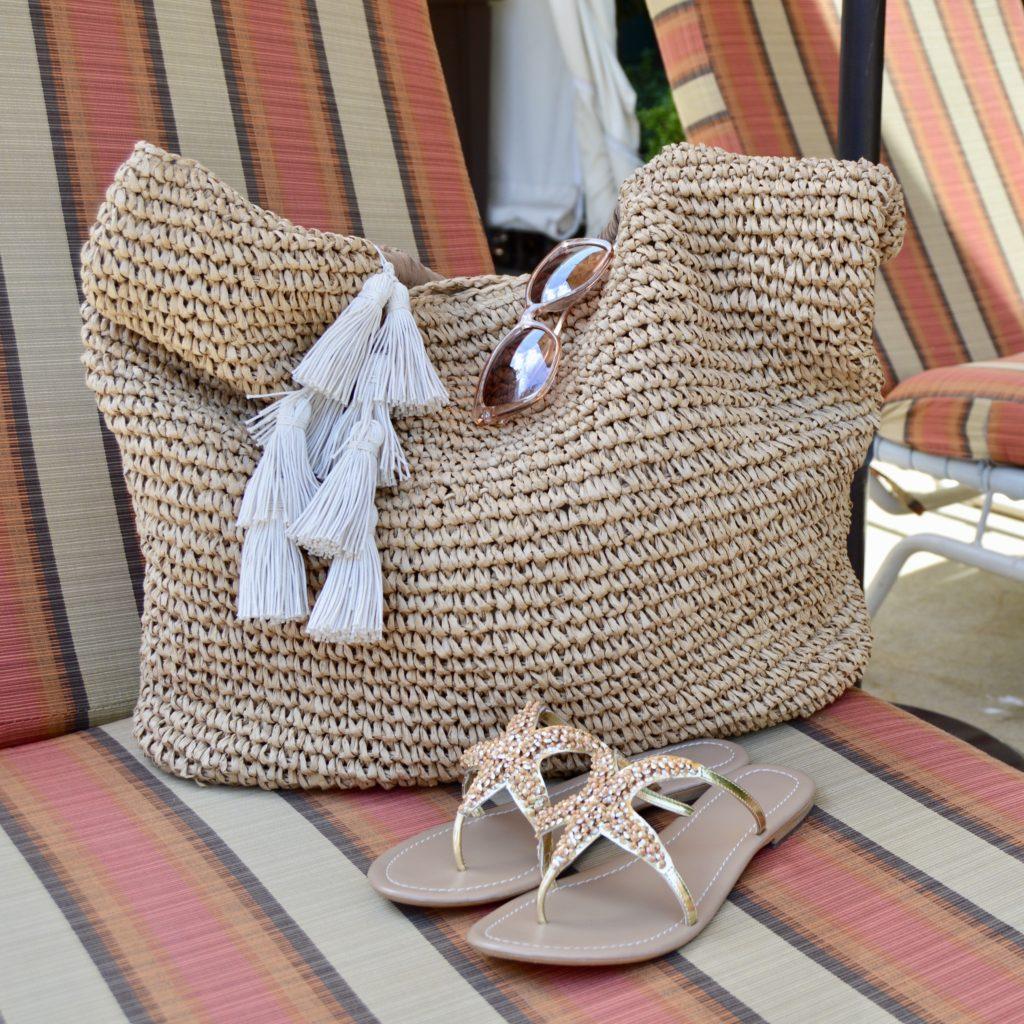 beach tote, sandals, sunglasses