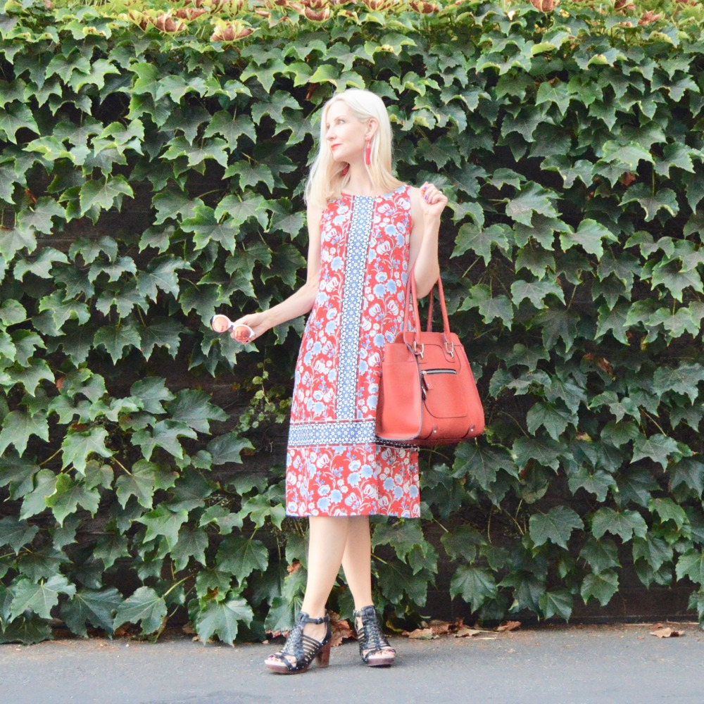 floral knit dress, style over 40, style over 50
