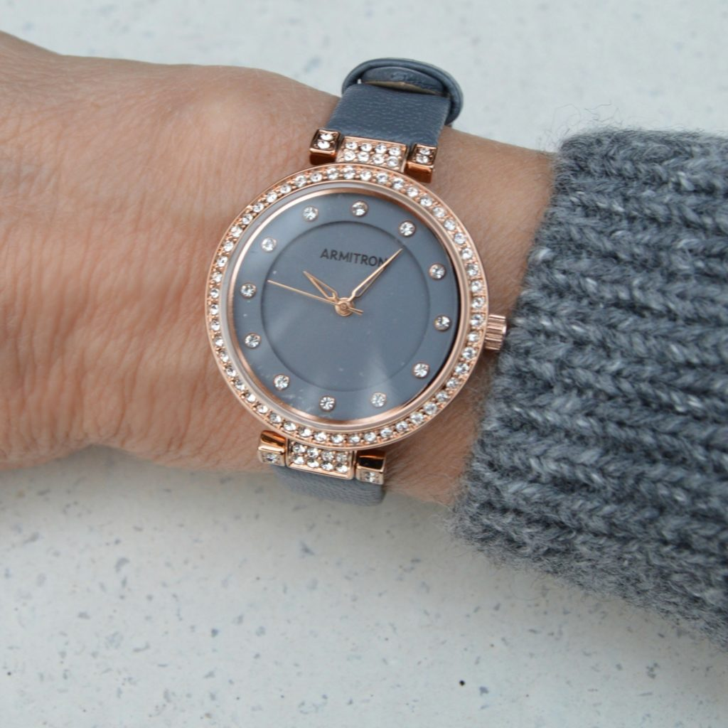 gray and rose gold watch