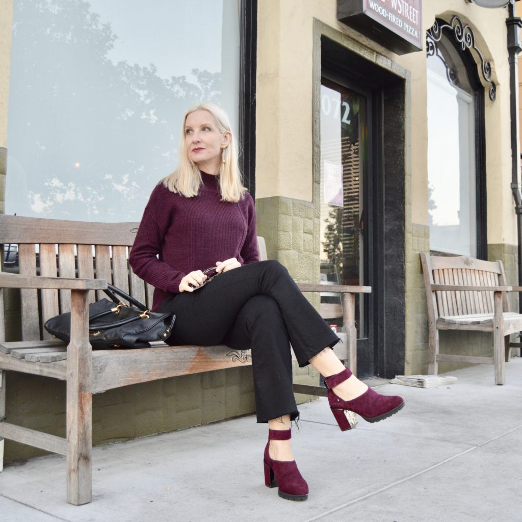 Canary Shoes in Plum Suede, comfortable heels