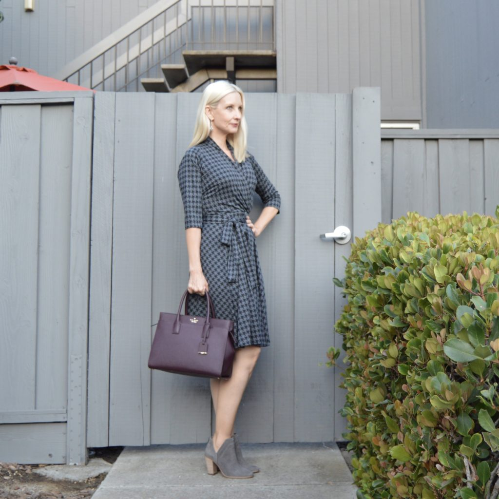 Ruby in houndstooth print, the easy dress