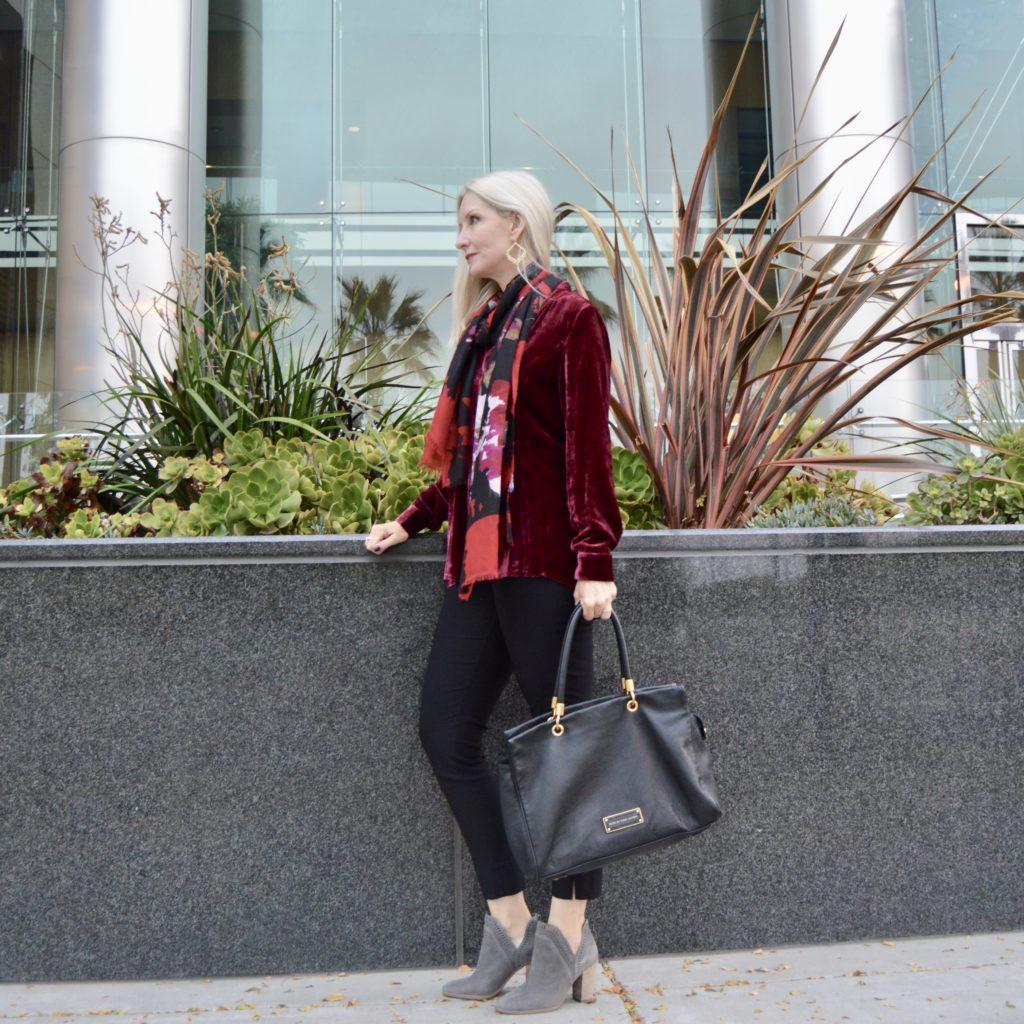 J.Jill November Collection, J.Jill holiday, velvet tunic, floral scarf, cozy coat