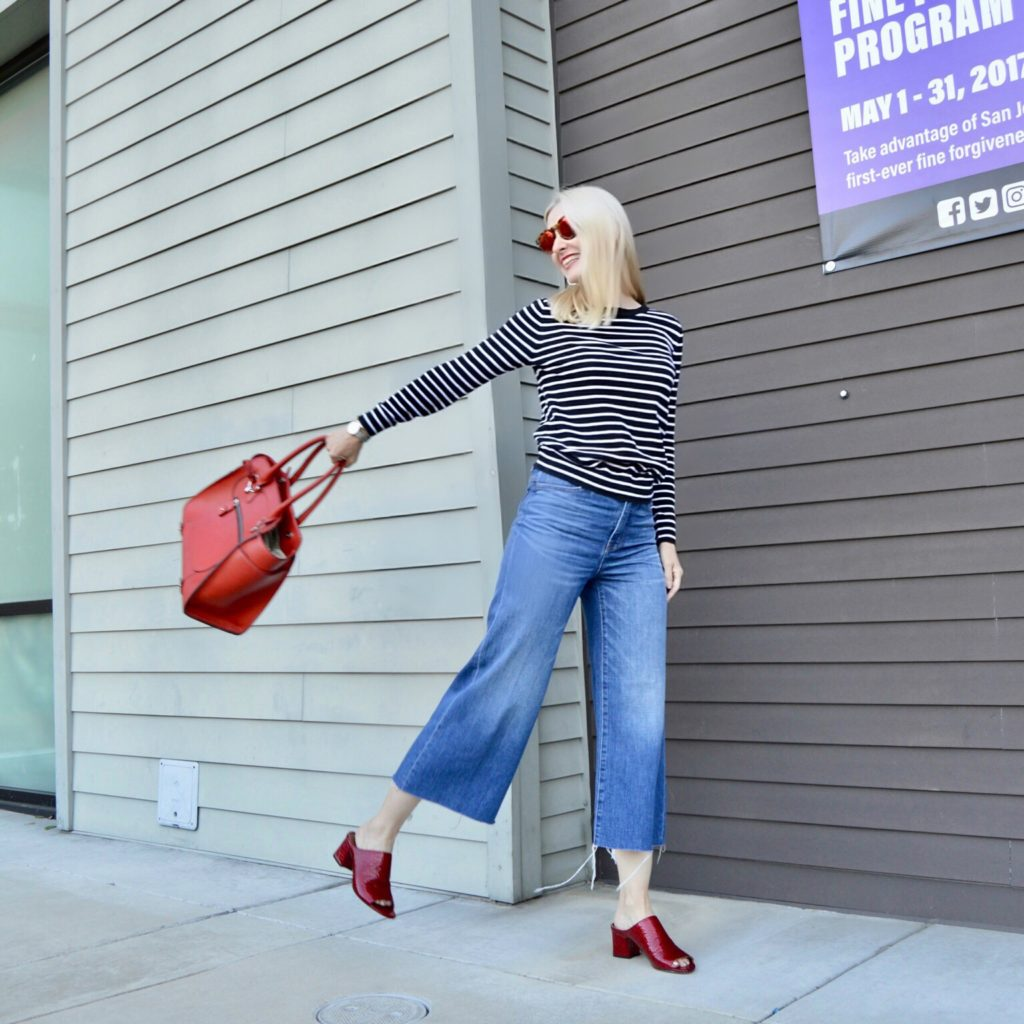 mules, red tote, stripes, spring