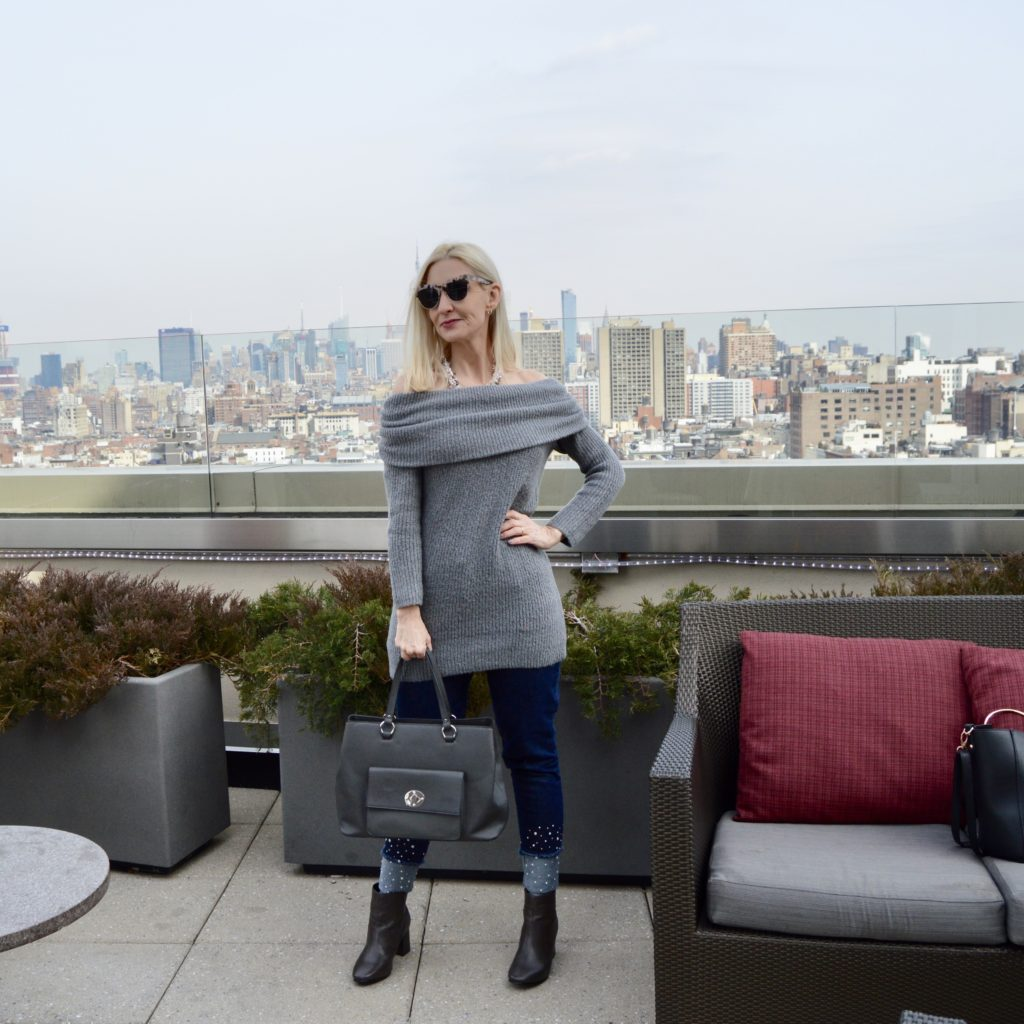 off the shoulder cozy sweater, embellished jeans