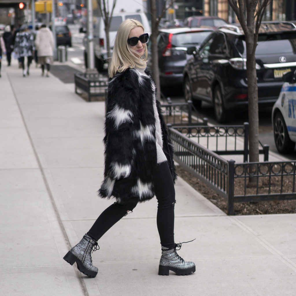 faux fur at NYFW, street style in New York