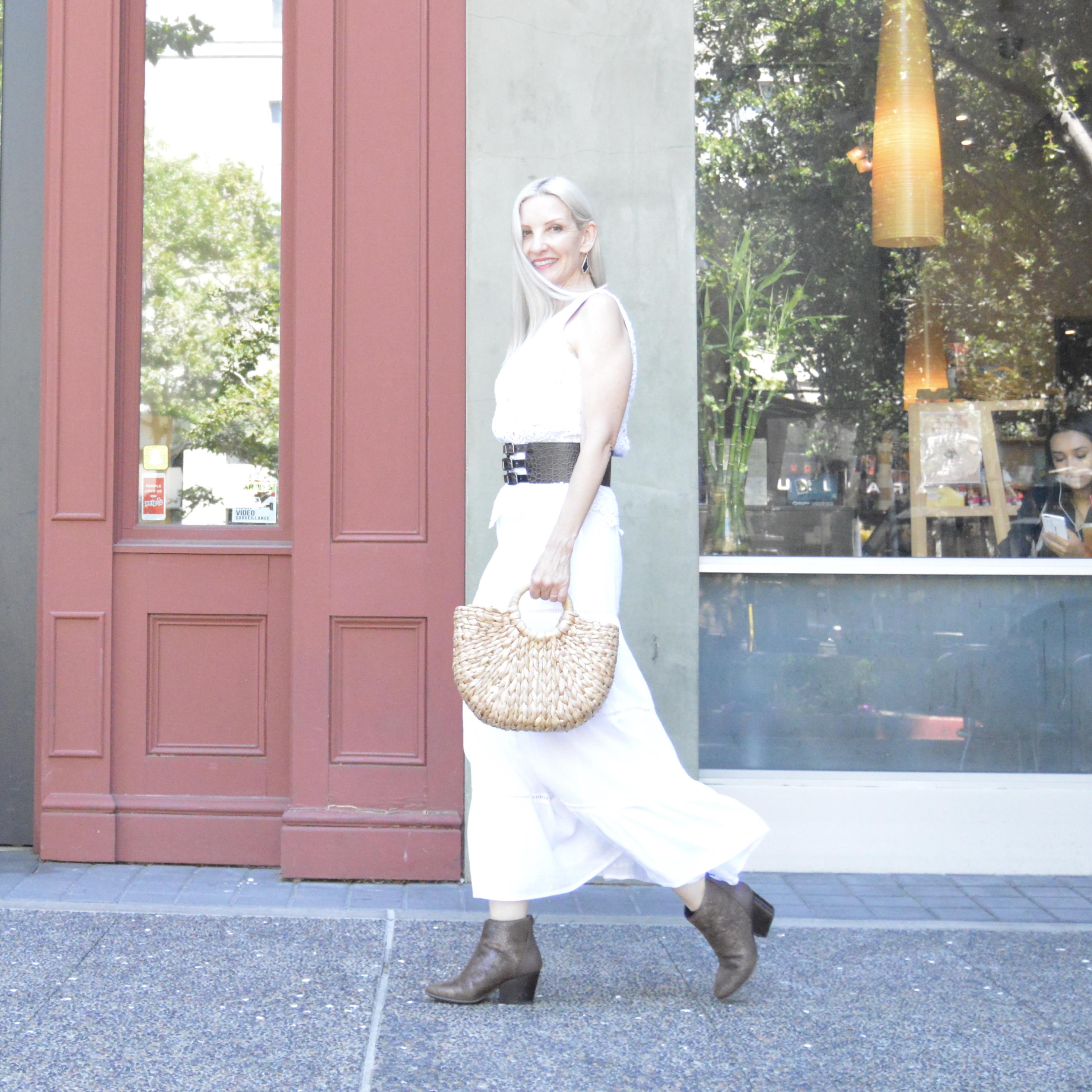 white dress, summer style, midlife style